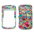 Bling Heart 3D crystals cases diamond covers for Blackberry Bold 9700 - Green