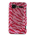 Bling Zebra crystals cases diamond covers for HTC Incredible S S710e G11 - Red