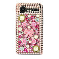 Bling flower 3D crystals cases diamond covers for HTC Incredible S S710e G11 - Pink