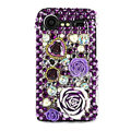 Bling flower 3D crystals cases diamond covers for HTC Incredible S S710e G11 - Purple