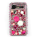 Bling flowers 3D crystals cases diamond covers for HTC Incredible S S710e G11 - Rose