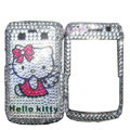 Hello kitty bling crystals cases diamond covers for Blackberry Bold 9700 - White