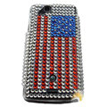 American flag bling crystals cases covers for Sony Ericsson Xperia Arc LT15I X12 LT18i - Red