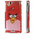 Angry bird bling crystals cases covers for Sony Ericsson Xperia Arc LT15I X12 LT18i - Red