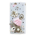 Bling Ballet girl crystals cases covers for Sony Ericsson Xperia Arc LT15I X12 LT18i - White