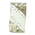 Bling Camellias crystals cases covers for Sony Ericsson Xperia Arc LT15I X12 LT18i - White