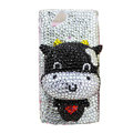Bling Cow crystals cases diamond covers for Sony Ericsson Xperia Arc LT15I X12 LT18i - White