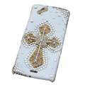 Bling Cross crystals cases covers for Sony Ericsson Xperia Arc LT15I X12 LT18i - White