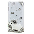 Bling Little lamb crystals cases covers for Sony Ericsson Xperia Arc LT15I X12 LT18i - White