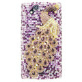 Bling Peacock crystals cases covers for Sony Ericsson Xperia Arc LT15I X12 LT18i - Purple