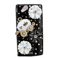 Bling Pumpkin flowers crystals cases covers for Sony Ericsson Xperia Arc LT15I X12 LT18i - Black