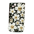 Bling flowers covers crystals cases for Sony Ericsson Xperia Arc LT15I X12 LT18i - Black