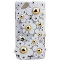 Bling flowers covers crystals cases for Sony Ericsson Xperia Arc LT15I X12 LT18i - White