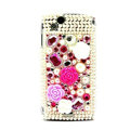 Flower 3D bling crystals cases covers for Sony Ericsson Xperia Arc LT15I X12 LT18i - Red