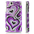 Hearts bling crystals cases covers for Sony Ericsson Xperia Arc LT15I X12 LT18i - Purple
