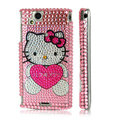 Hello kitty heart bling crystals cases covers for Sony Ericsson Xperia Arc LT15I X12 LT18i - Pink