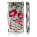Hello kitty heart bling crystals cases covers for Sony Ericsson Xperia Arc LT15I X12 LT18i - White