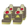 Naughty Winnie the Pooh Car Front Rear Seat Covers Universal 10pcs - Gray