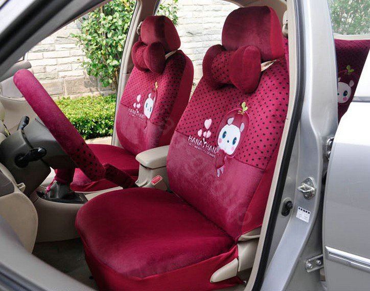 buy wholesale oulilai apple cat car front rear seat covers cartoon plush universal 19pcs rose. Black Bedroom Furniture Sets. Home Design Ideas
