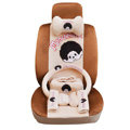 OULILAI Monchhichi Car Front Rear Seat Covers Plush Universal 19pcs - Brown