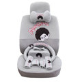 OULILAI Monchhichi Car Front Rear Seat Covers Plush Universal 19pcs - Gray