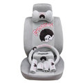 OULILAI Monchhichi Car Front Rear Seat Covers Universal Plush 19pcs - Gray