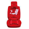 OULILAI Pudding dog Auto Car Front Rear Seat Covers Plush Universal 19pcs - Red
