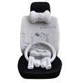 OULILAI Pudding dog Car Front Rear Seat Covers Plush Universal 19pcs - Gray