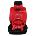 OULILAI Pudding dog Car Front Rear Seat Covers Plush Universal 19pcs - Red