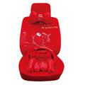 OULILAI Pudding dog Car Front Rear Seat Covers Universal Plush 19pcs - Red