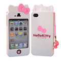 Hello kitty Scrub Hard Back Cases Skin Covers for iPhone 4G/4S - White