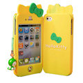 Hello kitty Scrub Hard Back Cases Skin Covers for iPhone 4G/4S - Yellow