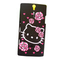 Hello kitty scrub hard skin cases covers for Sony Ericsson LT26i Xperia S - Black