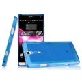IMAK Ultrathin Scrub Skin Cases Covers for Sony Ericsson LT26i Xperia S - Transparent Blue (High transparent screen protector)