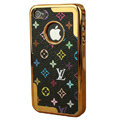 LV Ultrathin Metal edge Hard Back Cases Covers for iPhone 4G/4S - Black