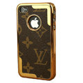 LV Ultrathin Metal edge Hard Back Cases Covers for iPhone 4G/4S - Brown