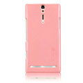 Nillkin bright side hard cases covers for Sony Ericsson LT26i Xperia S - Pink (High transparent screen protector)