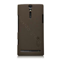 Nillkin scrub hard skin cases covers for Sony Ericsson LT26i Xperia S - Brown (High transparent screen protector)