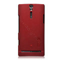 Nillkin scrub hard skin cases covers for Sony Ericsson LT26i Xperia S - Red (High transparent screen protector)