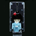 kimono doll bling crystals cases skin covers for Sony Ericsson LT26i Xperia S - Blue