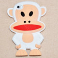 Cartoon Paul Frank 3D Silicone Cases Skin Covers for iPhone 4G/4S - White