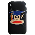 Cartoon Paul Frank Silicone Cases Covers Skin for iPhone 3G/3GS - Black