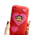 Cartoon Paul Frank Silicone Cases Covers Skin for iPhone 3G/3GS - Red