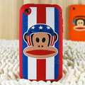 Cartoon Paul Frank Silicone Cases Skin Covers for iPhone 3G/3GS - Red
