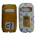 LV Louis Vuitton leather Cases Luxury Holster Covers for Nokia C7 - White