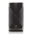Nillkin Scrub Soft Silicone Cases Covers for Sony Ericsson LT26i Xperia S - Black (High transparent screen protector)