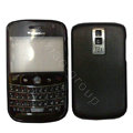 Front and Back Housing With Keypad Fullset Leather Case for Blackberry Bold 9000 - Black