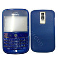 Front and Back Housing With Keypad Fullset Leather Case for Blackberry Bold 9000 - Blue