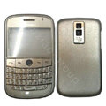 Front and Back Housing With Keypad Fullset Leather Case for Blackberry Bold 9000 - Silver
