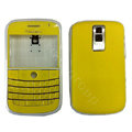 Front and Back Housing With Keypad Fullset Leather Case for Blackberry Bold 9000 - Yellow